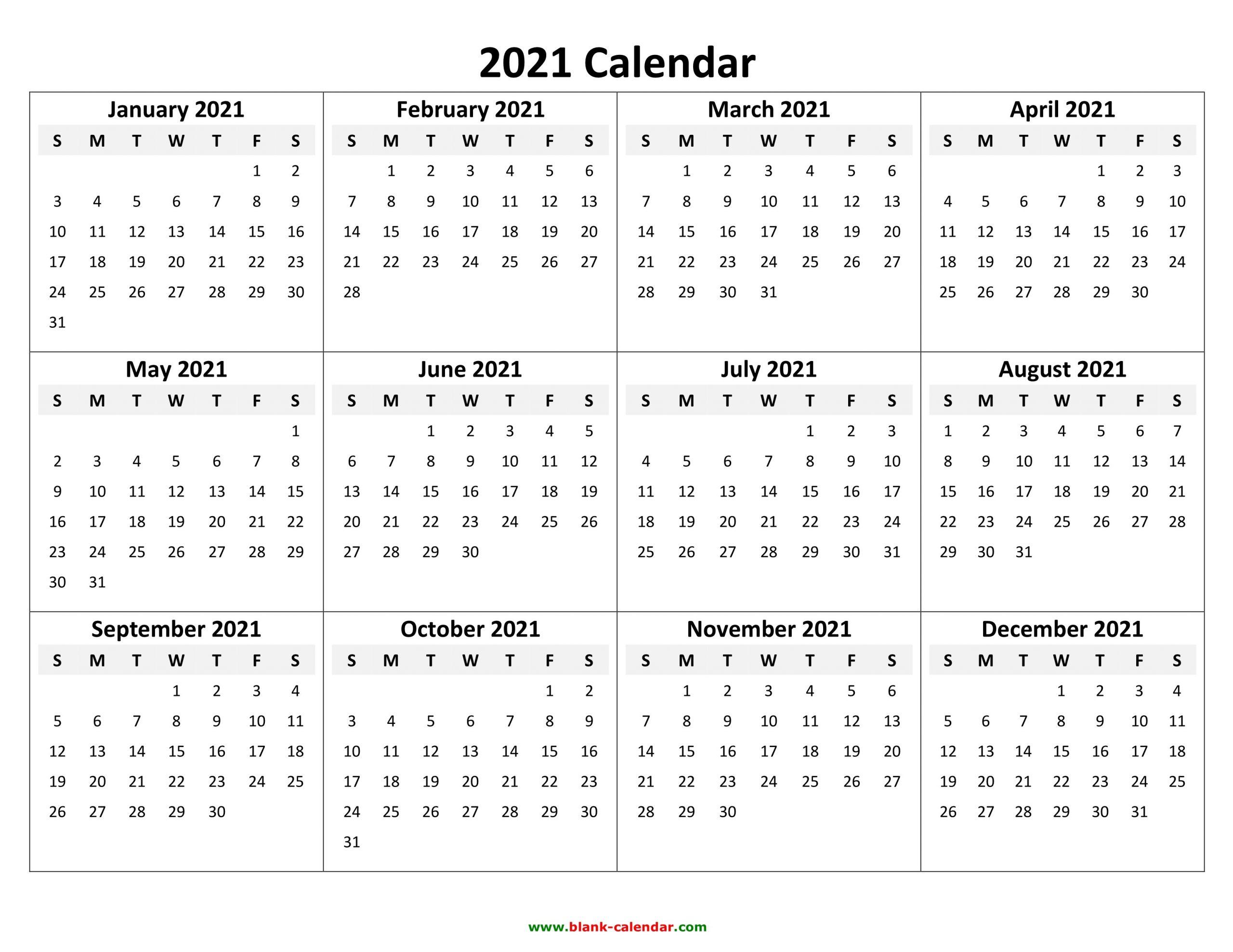 2021 Calendar Pdf 3 Year Calendar Full Page Free