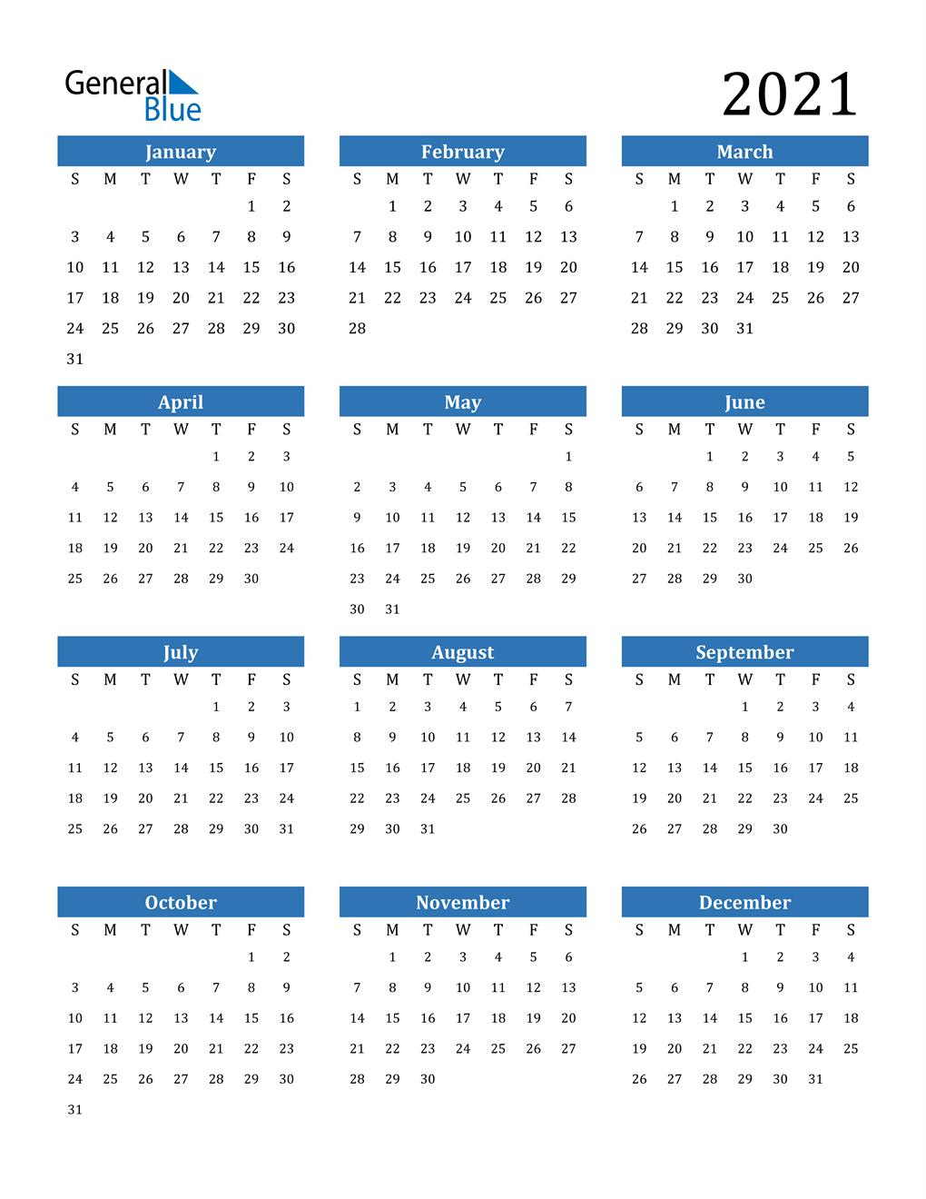2021 Calendar Pdf Word Excel