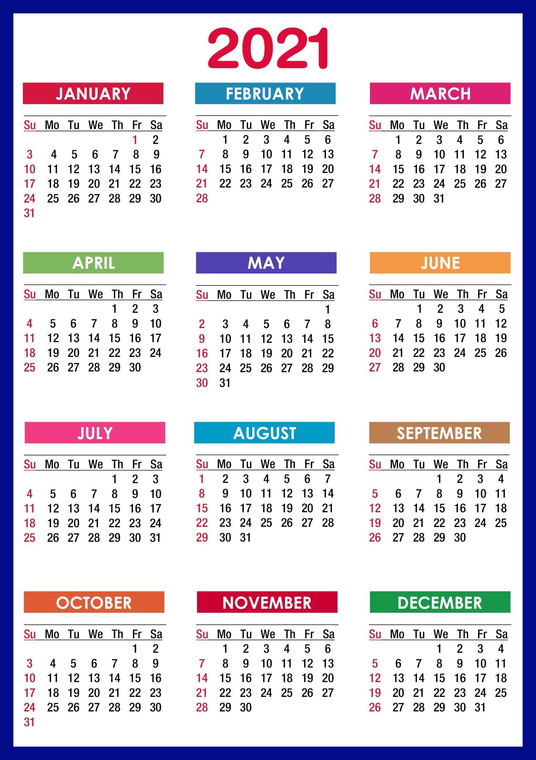 2021 Calendar Printable 12 Months All In One Calendar 2021