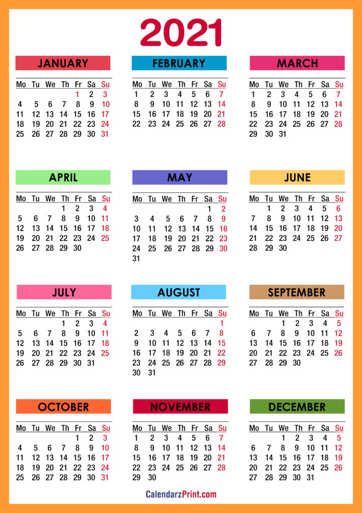 2021 Calendar Printable Free Colorful Red Orange