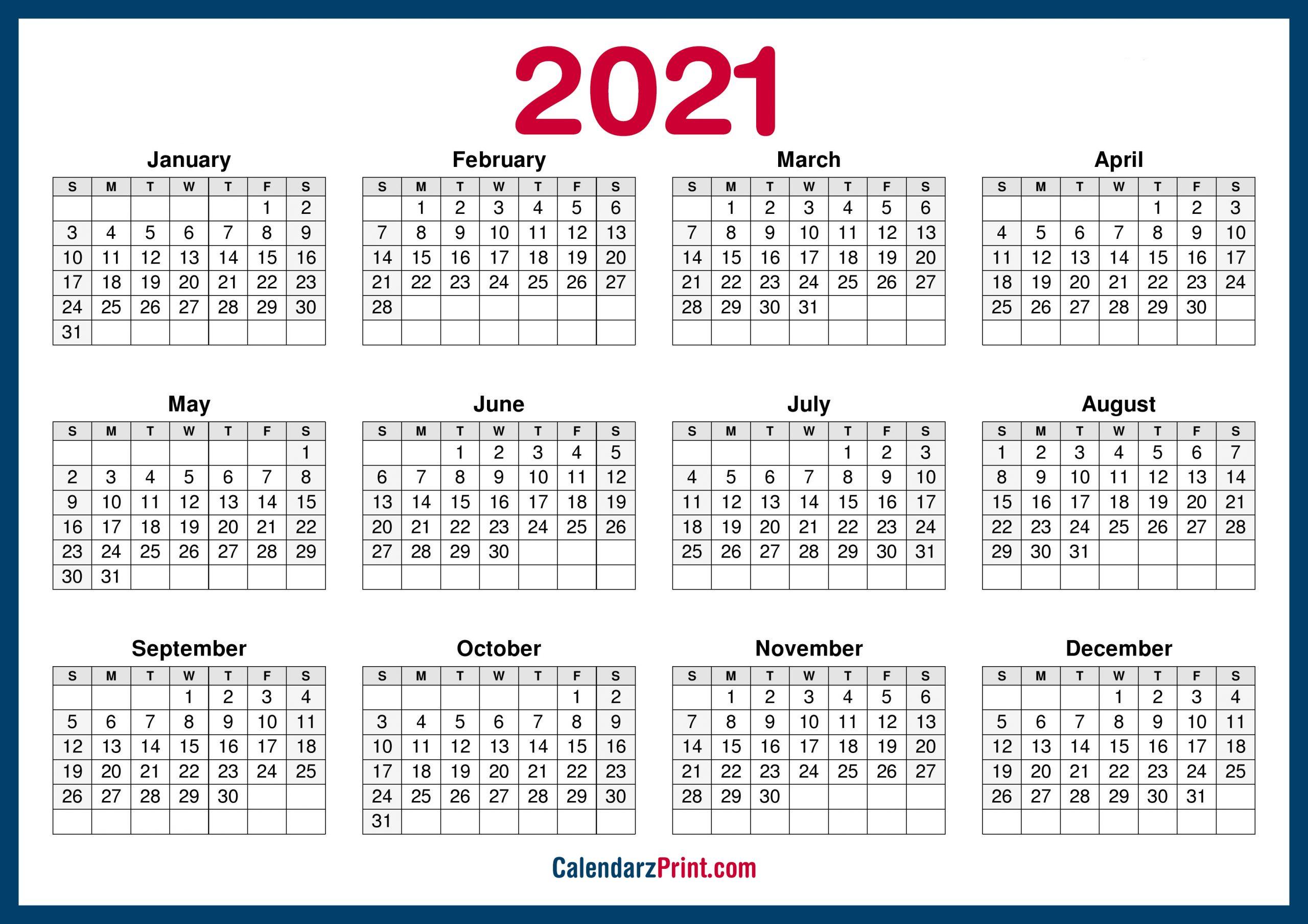 2021 Calendar Printable Free Horizontal Hd Navy Blue