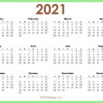 2021 Calendar Printable Free Horizontal Light Green Hd