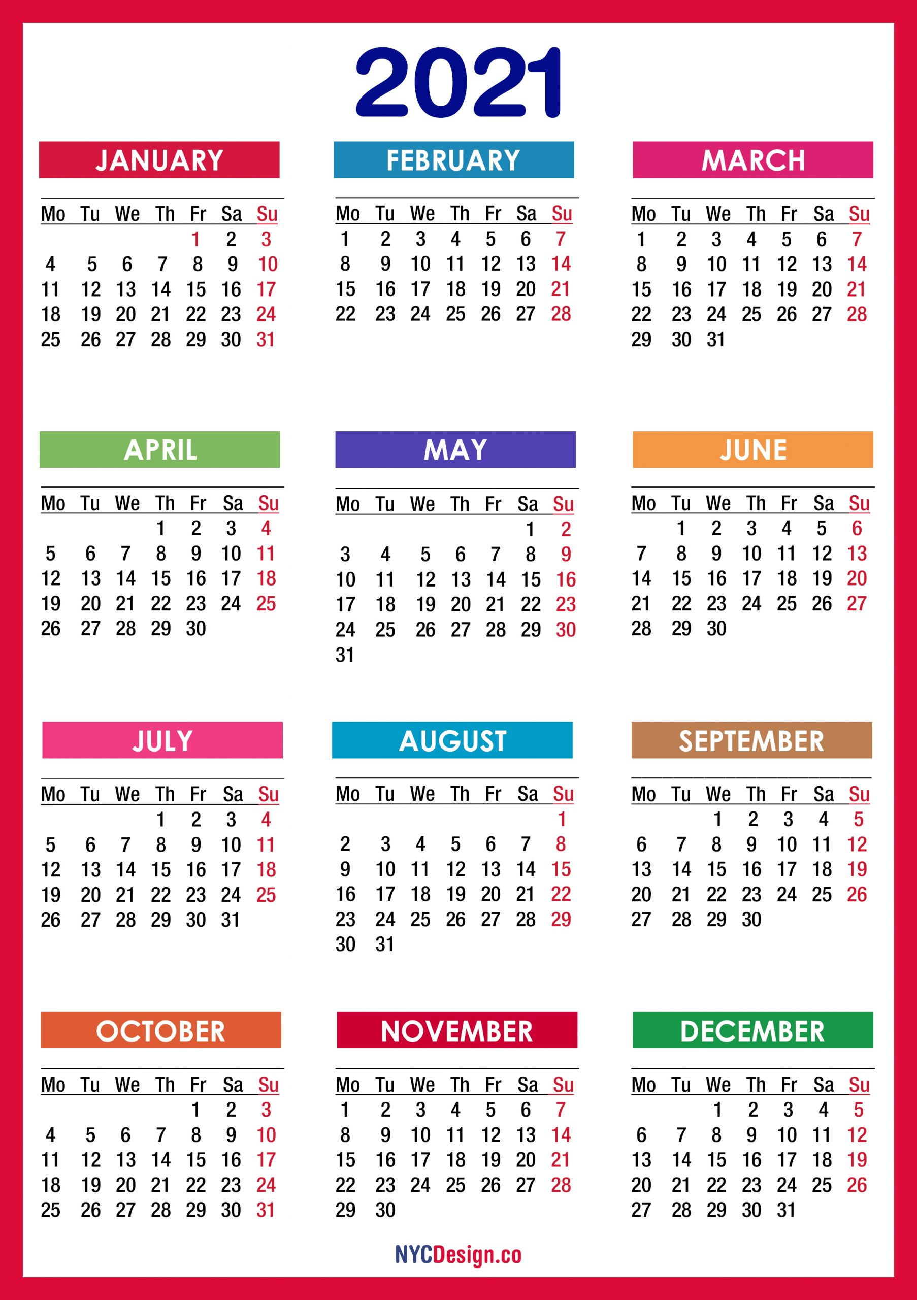 2021 Calendar Printable Free Pdf Colorful Red Orange