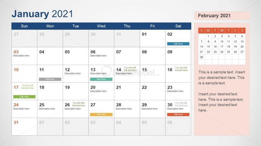 2021 Calendar Template January Powerpoint Slidemodel