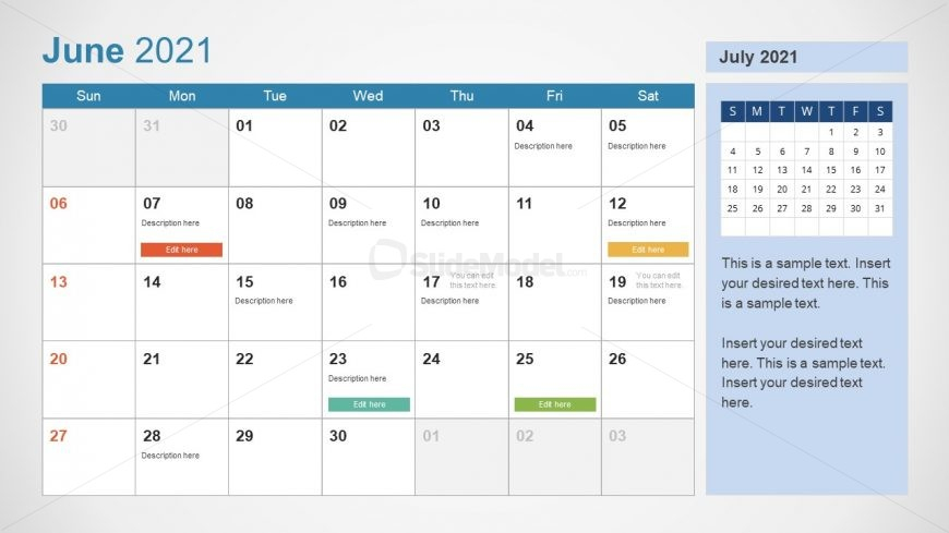 2021 Calendar Template June Powerpoint Slidemodel