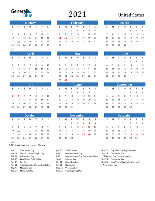 2021 Calendar United States With Holidays 1