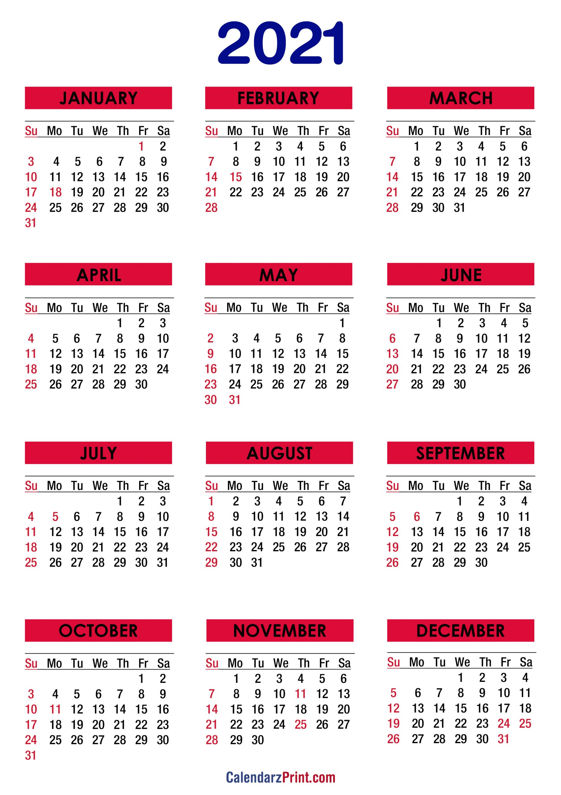 2021 Calendar With Holidays Printable Free Colorful 3
