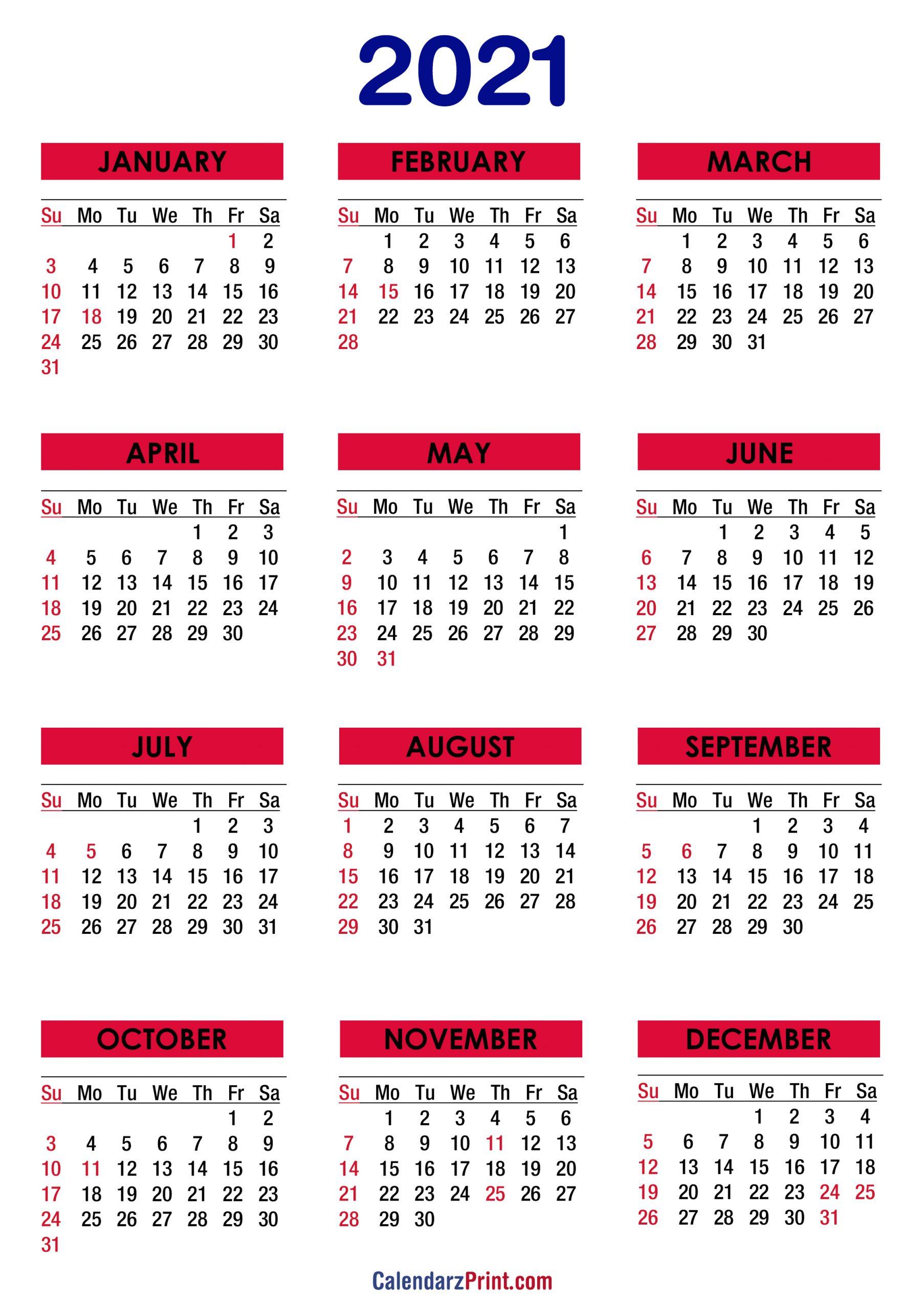 2021 Calendar With Holidays Printable Free Colorful