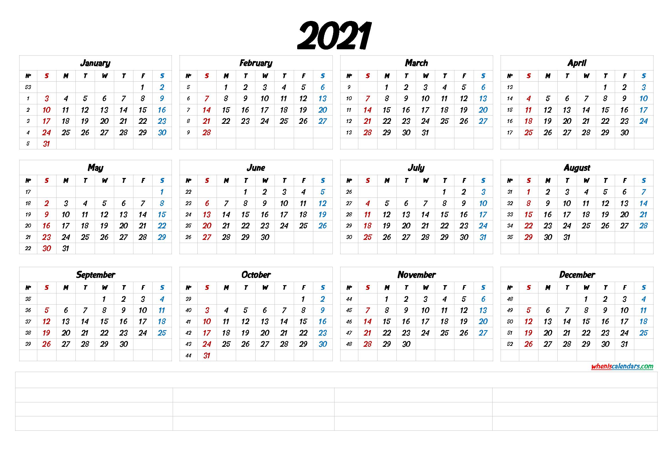 2021 Calendar With Week Numbers Printable 6 Templates 1