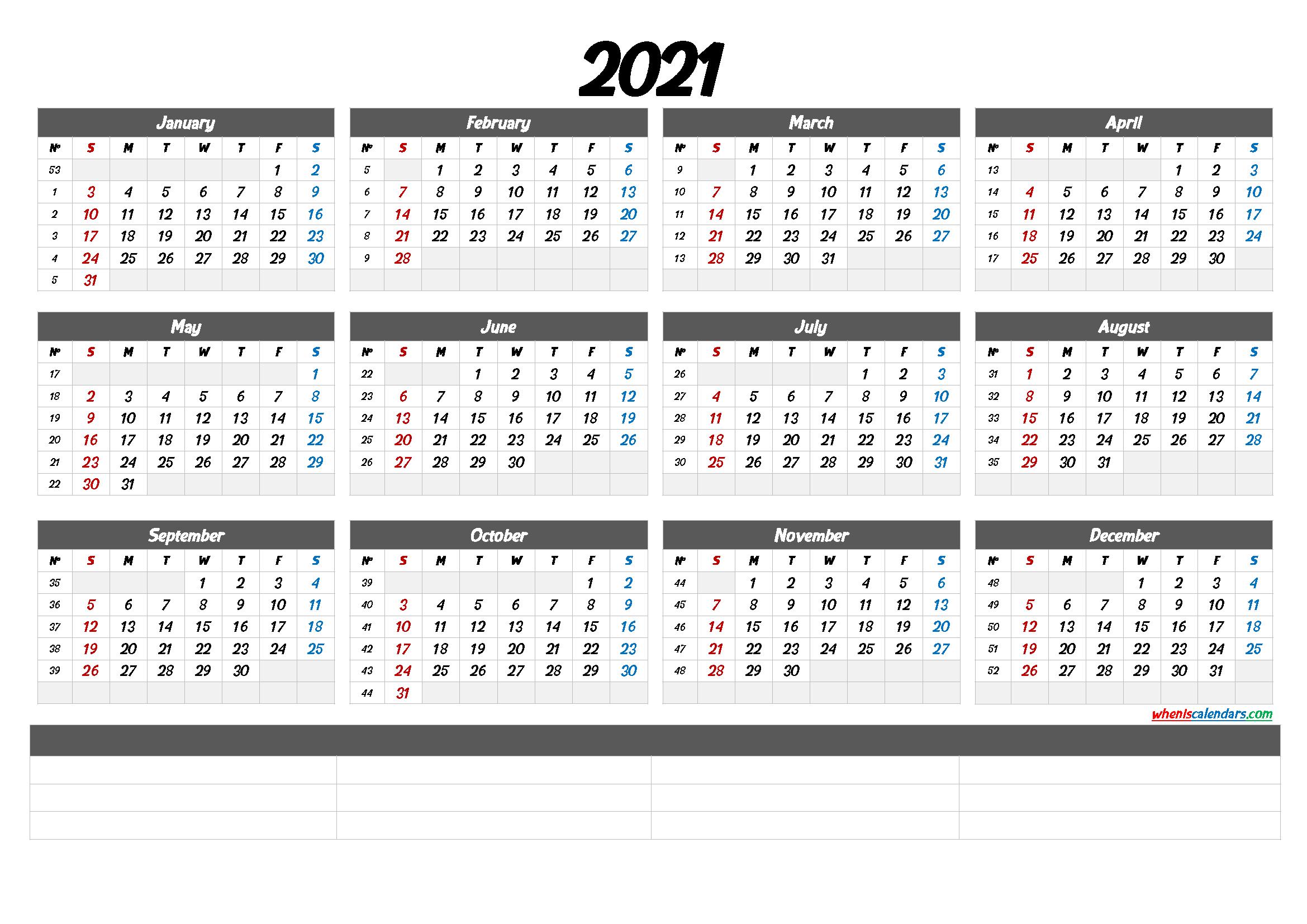 2021 Calendar With Week Numbers Printable 6 Templates