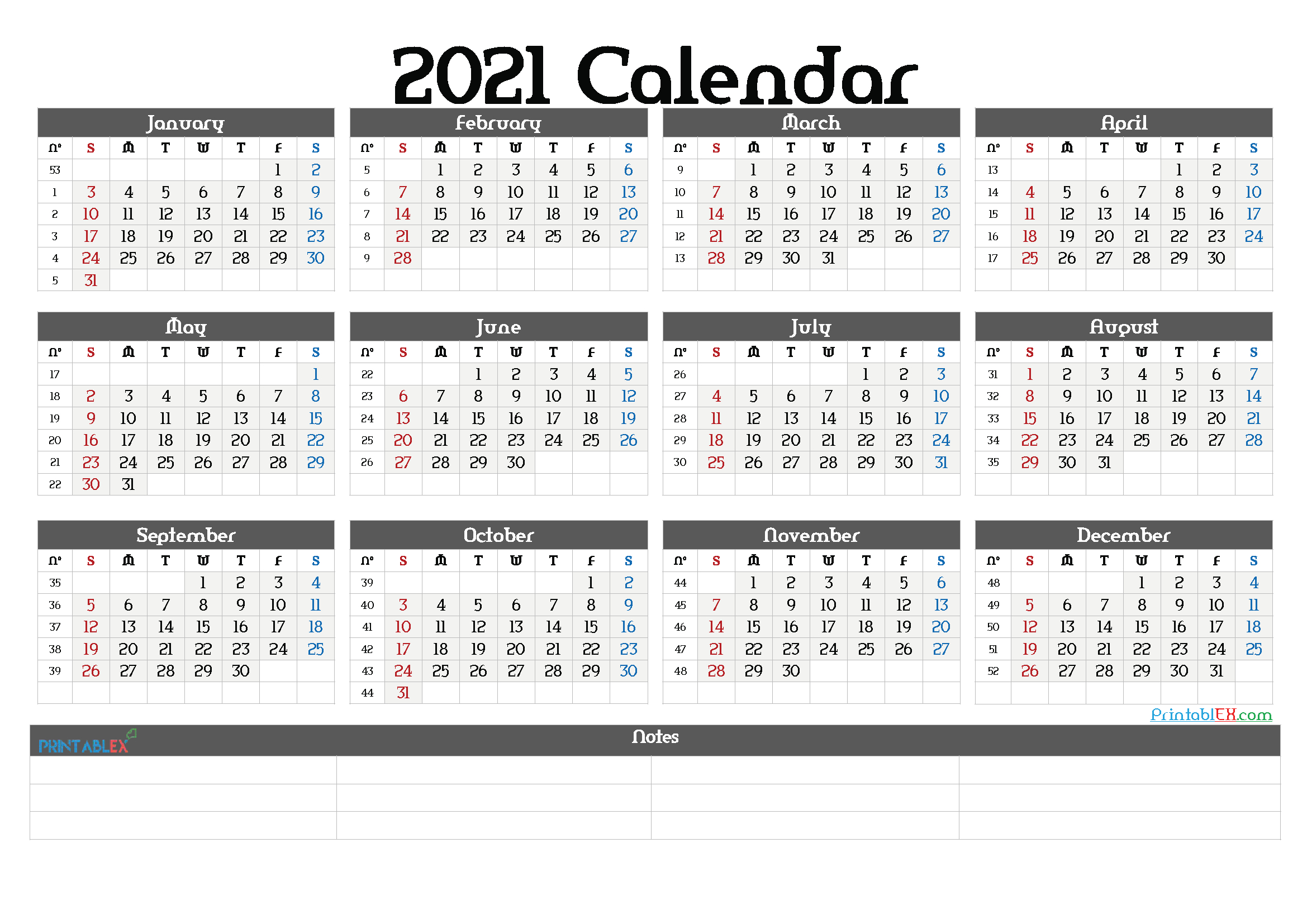 2021 Calendar With Weeks Numbered Printable March