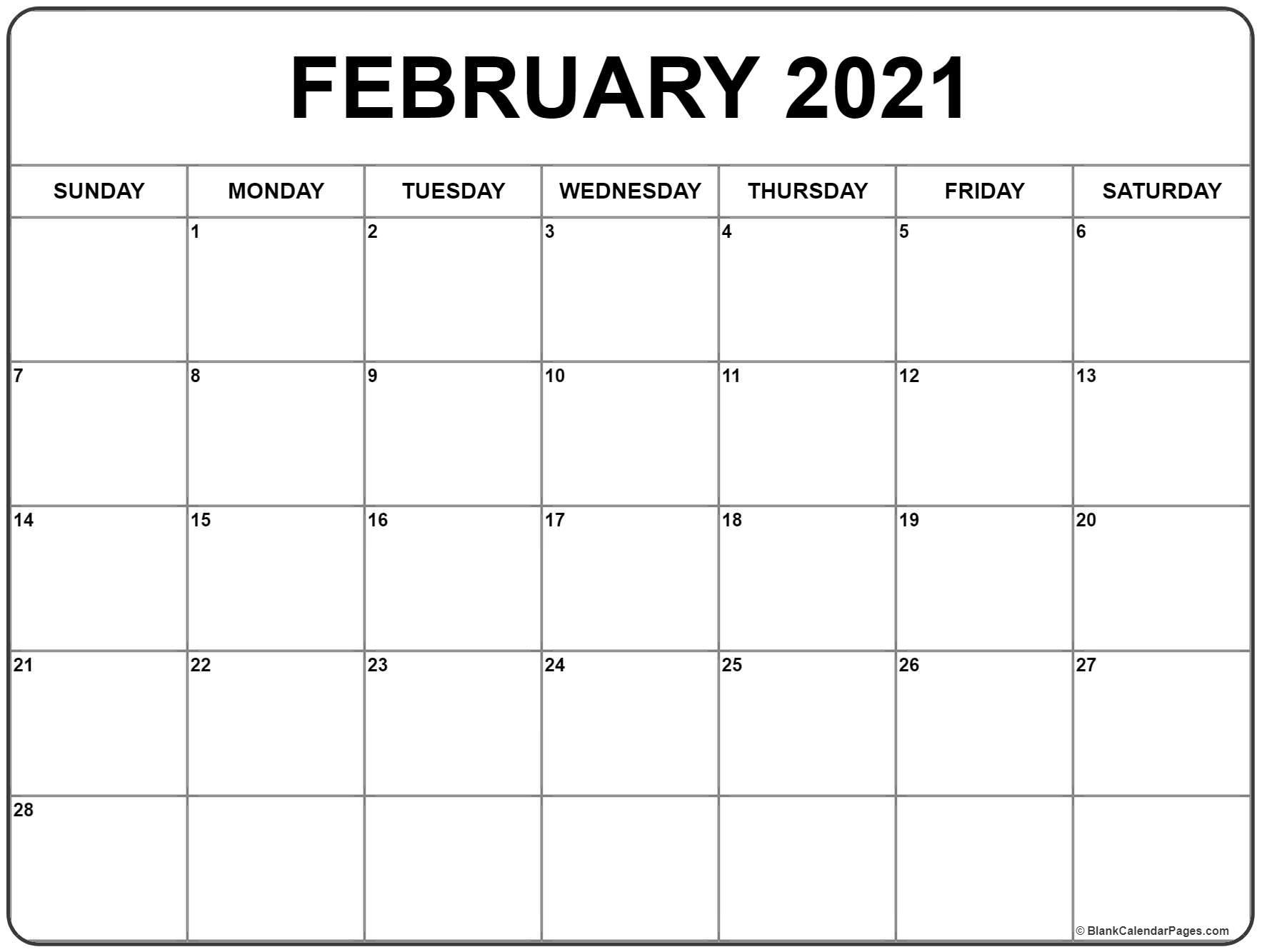 2021 February Calendar Printable Avnitasoni