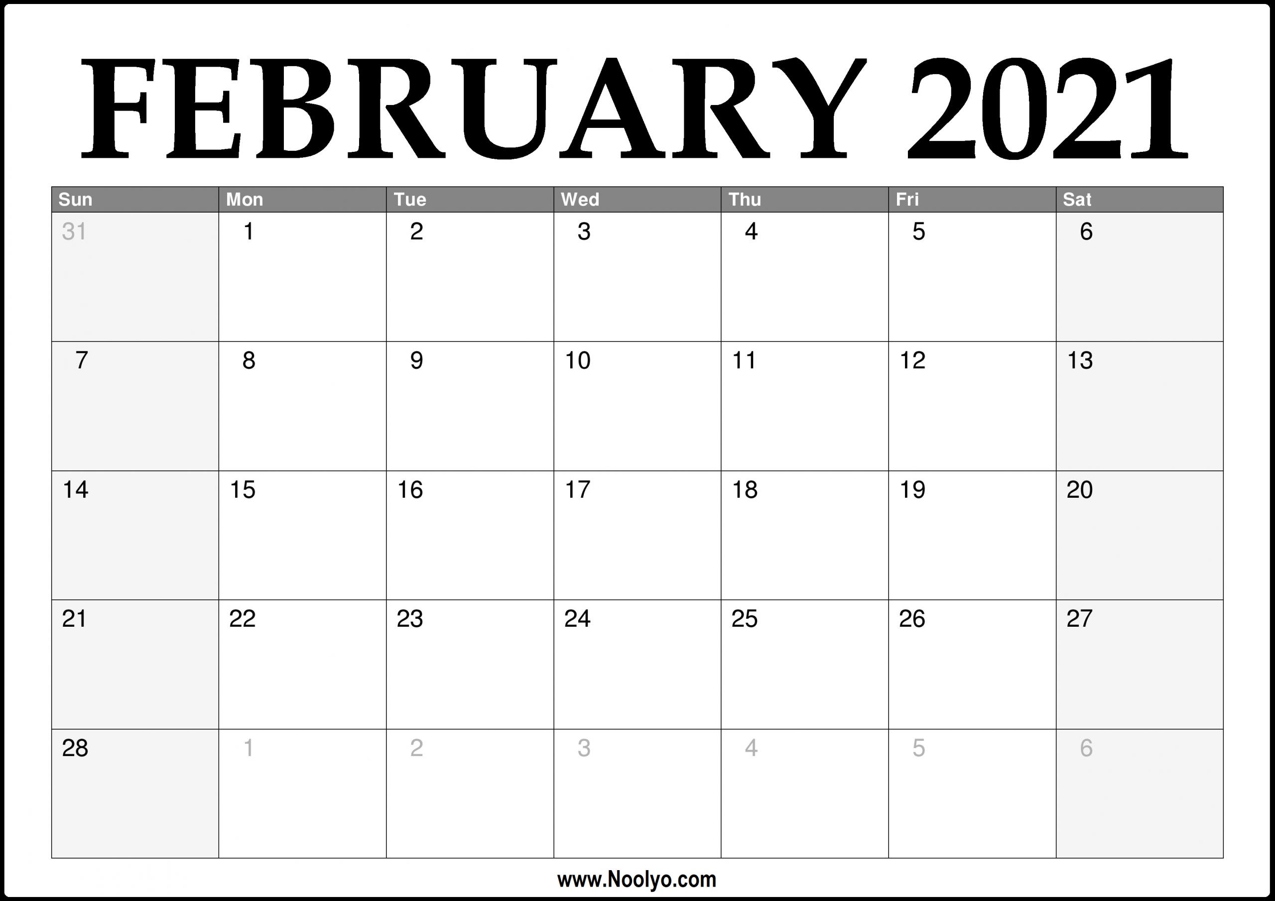 2021 February Calendar Printable Download Free Noolyo
