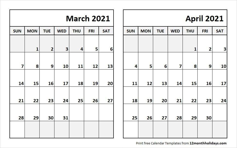 2021 February March April Calendar Template In 2020