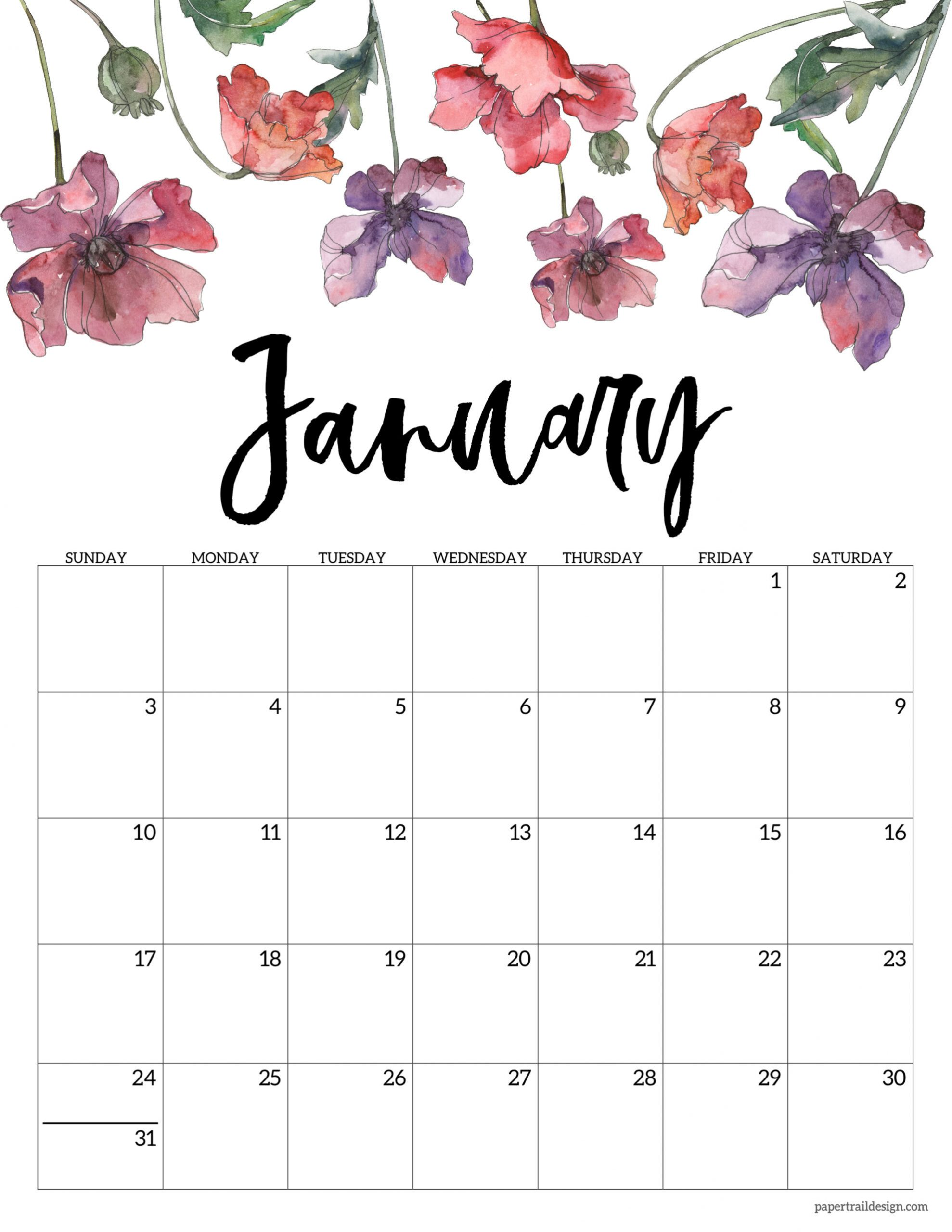 2021 Free Printable Calendar Floral Paper Trail Design