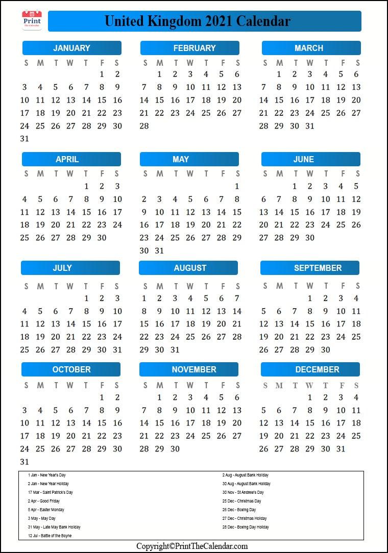 2021 Holiday Calendar Uk Uk 2021 Holidays