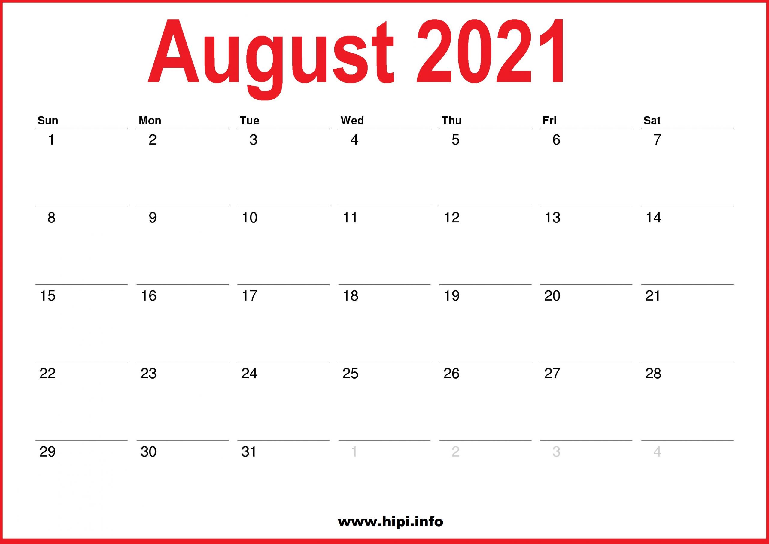 2021 Monthly Calendars 2021 July August September