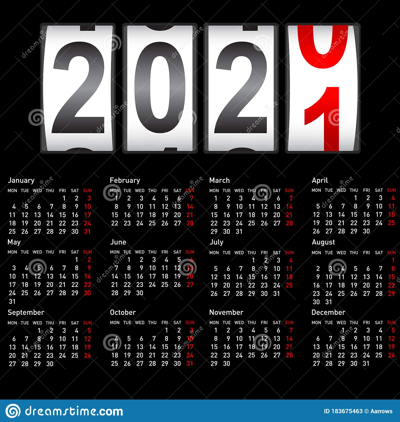 2021 New Year Counter Change Calendar Illustration Stock 1