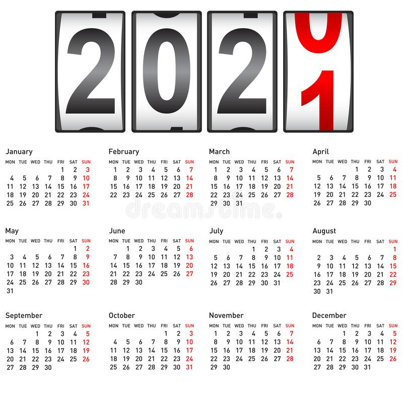 2021 New Year Counter Change Calendar Illustration Stock