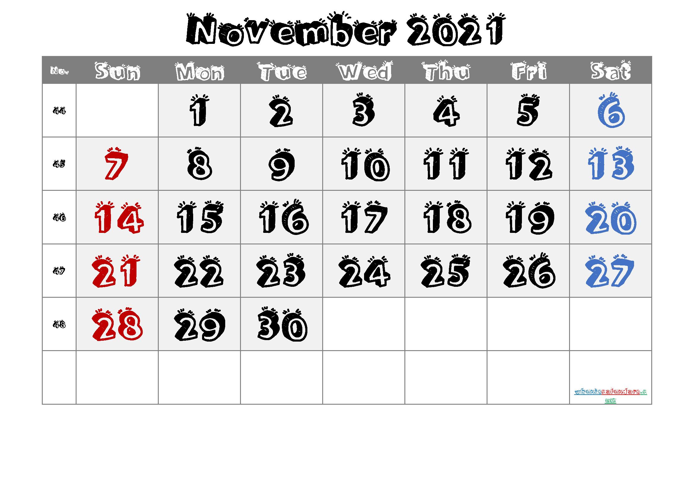 2021 November Free Printable Calendar Free Premium