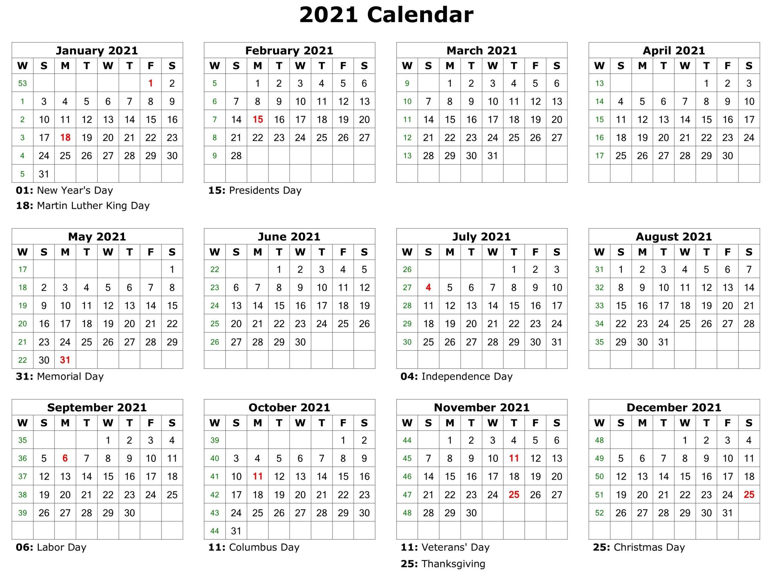 2021 Printable Calendar Monthly Calendar Printable Free 1