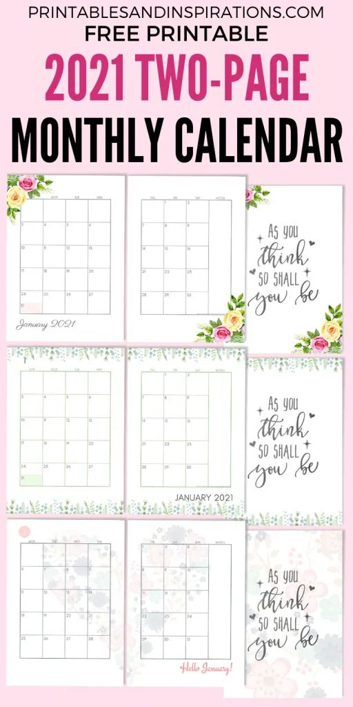 2021 Two Page Monthly Calendar Template Free Printable