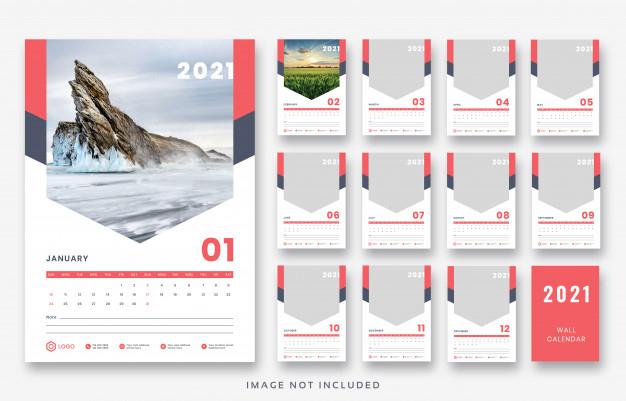 2021 Wall Calendar Template Design Premium Psd File