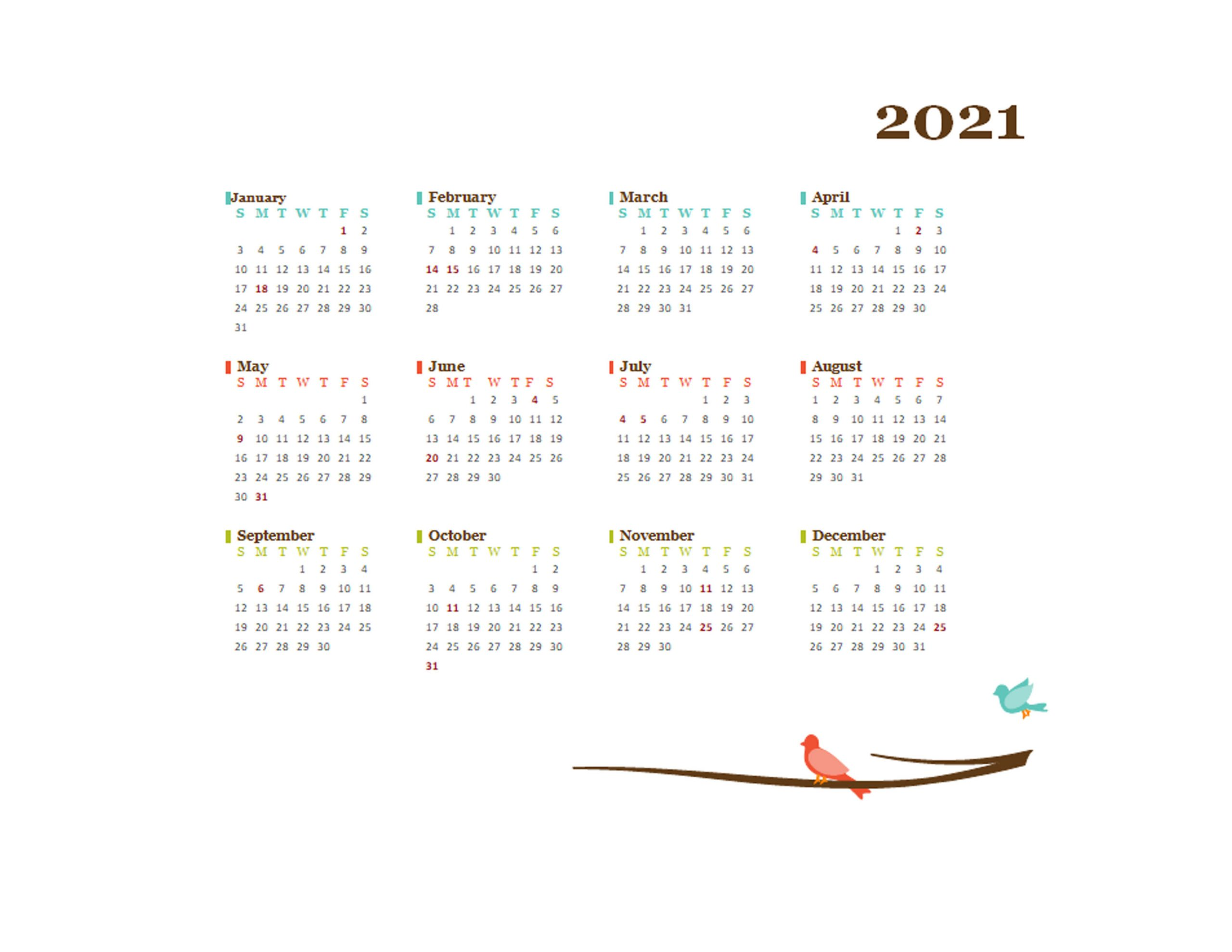 2021 Yearly Editable Word Calendar Template Free