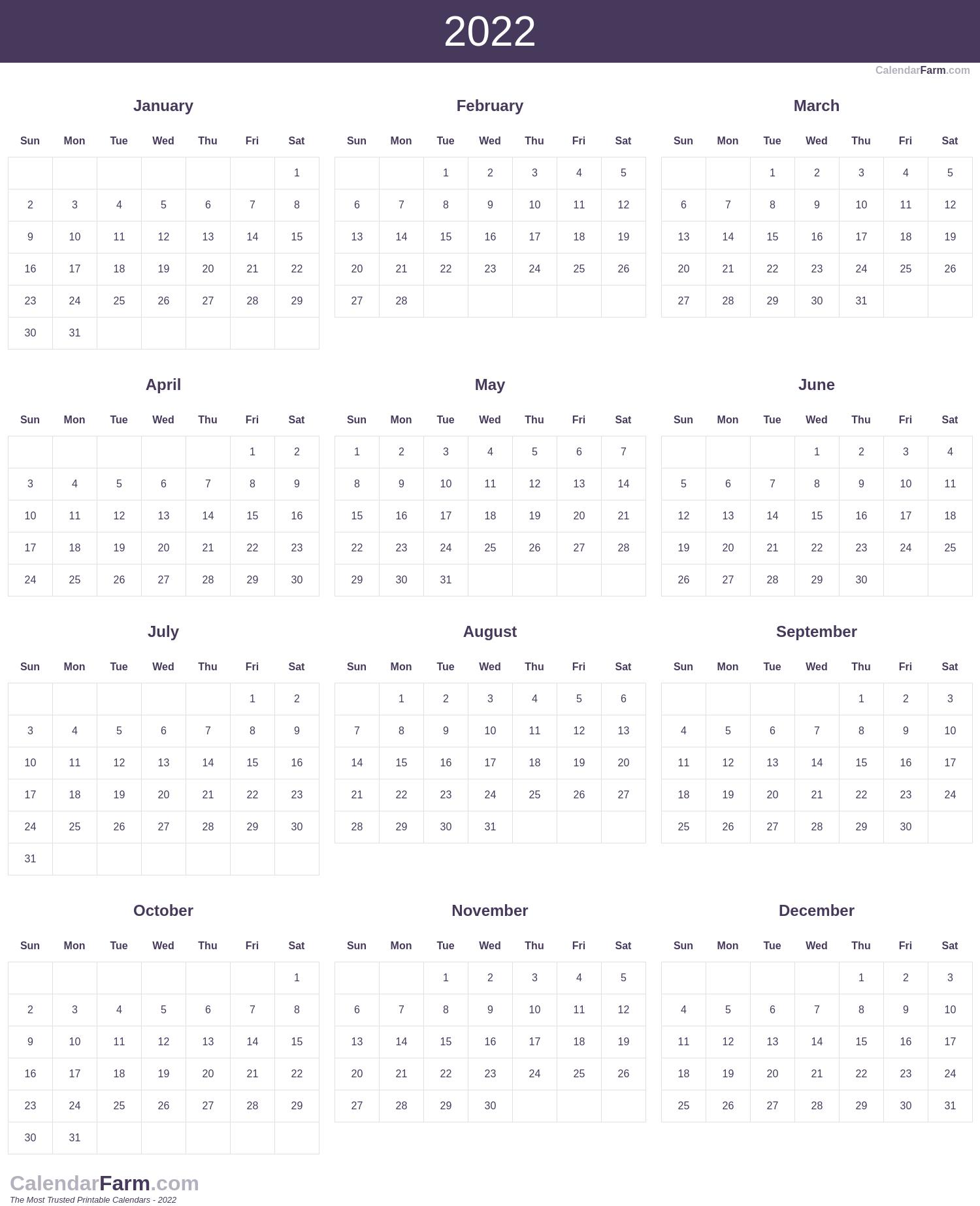 2022 Calendar 1