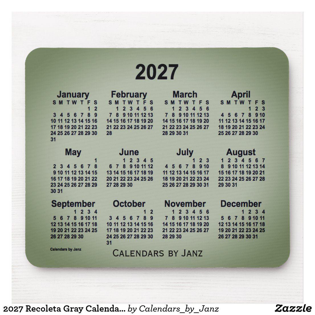 2027 Recoleta Gray Calendarjanz Mouse Pad Zazzle