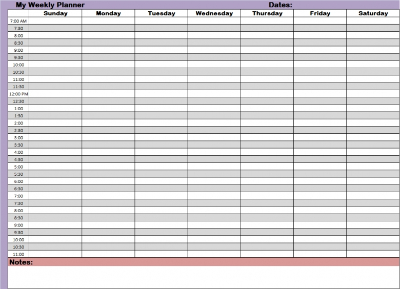24 Hour Planner Template Business