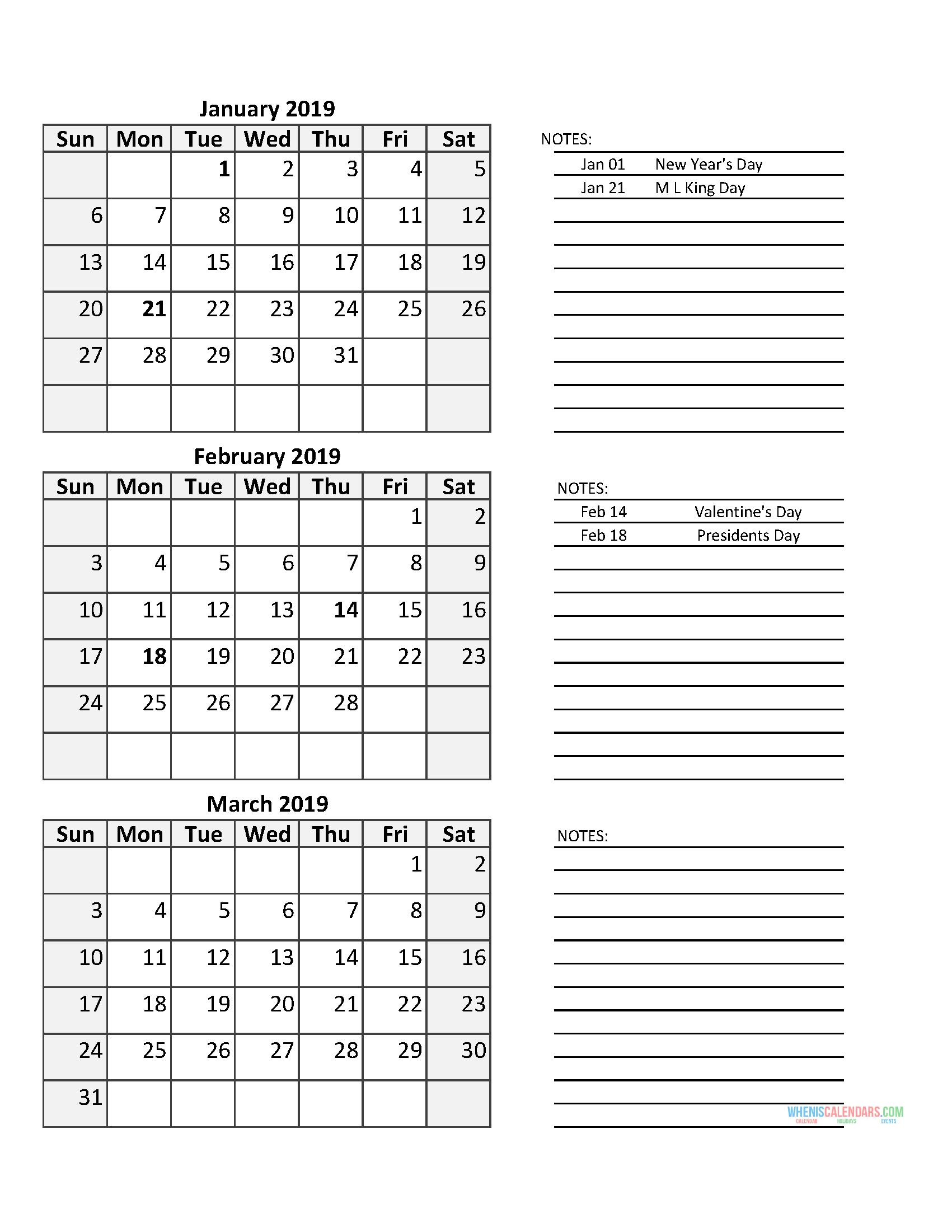 3 Month Calendar 2019 Quarterly Calendar First Quarter