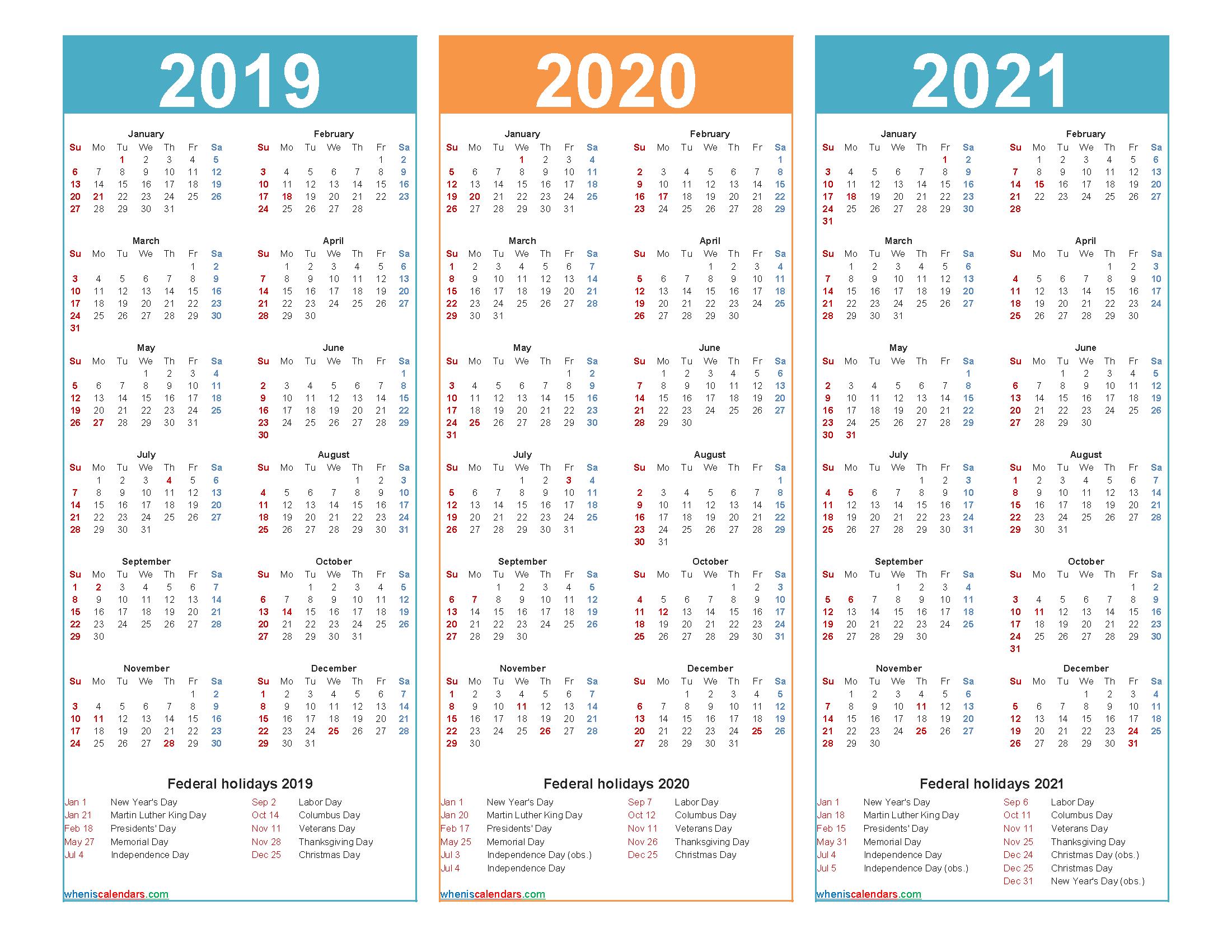 3 Year Calendar 2019 To 2021 Printable Free Printable
