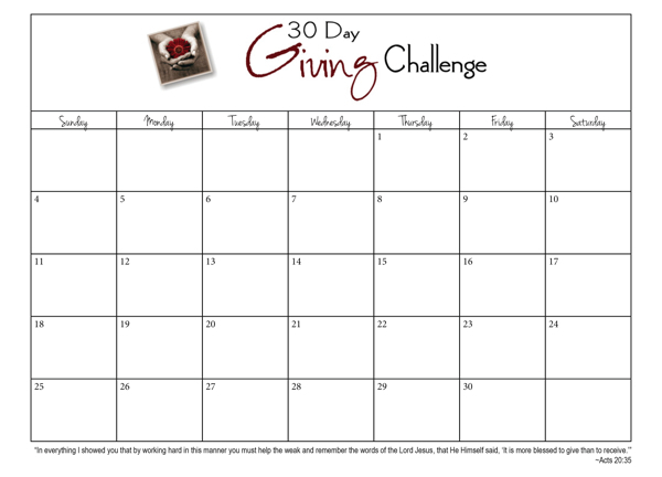 30 Day Giving Challenge Days 3 9 30daygive Www