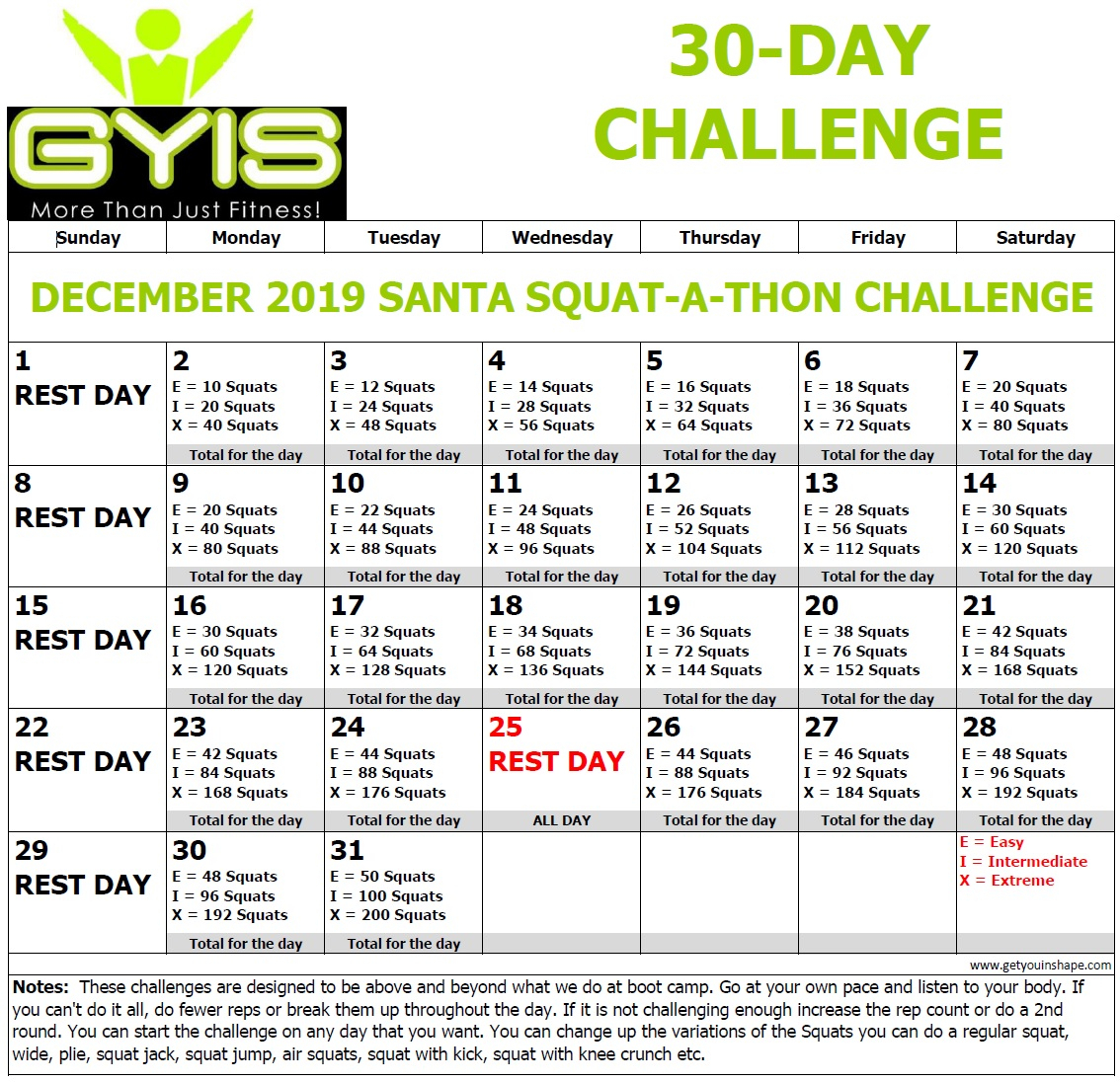 30 Day Santa Squat A Thon Challenge Dec 19