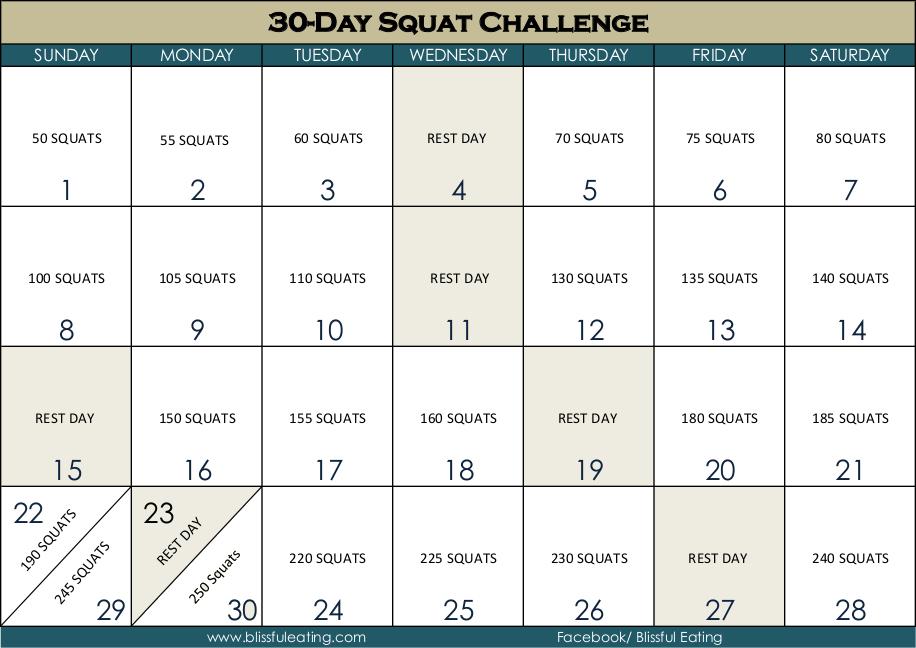 30 Day Squat Challenge Calendar Blissful Eating