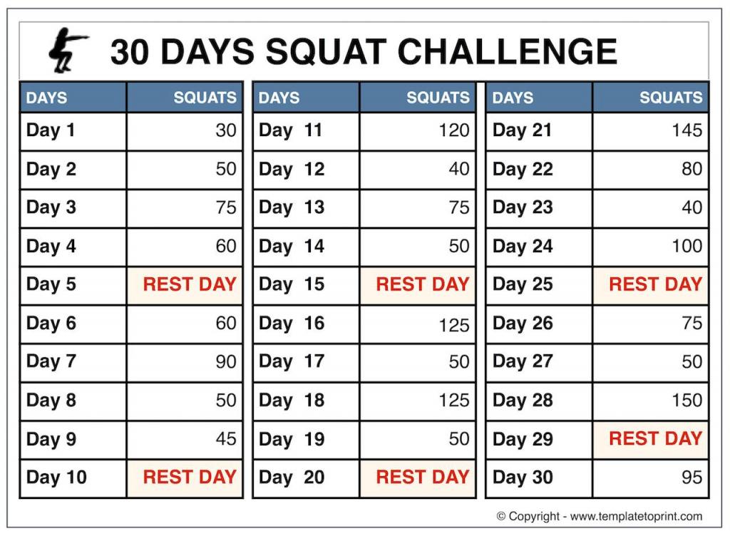 30 Squat Challenge Printable Calendar Template 2020