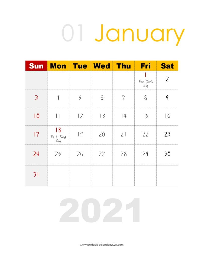 35 2021 Calendar Printable Pdf Monthly With Holidays And 2