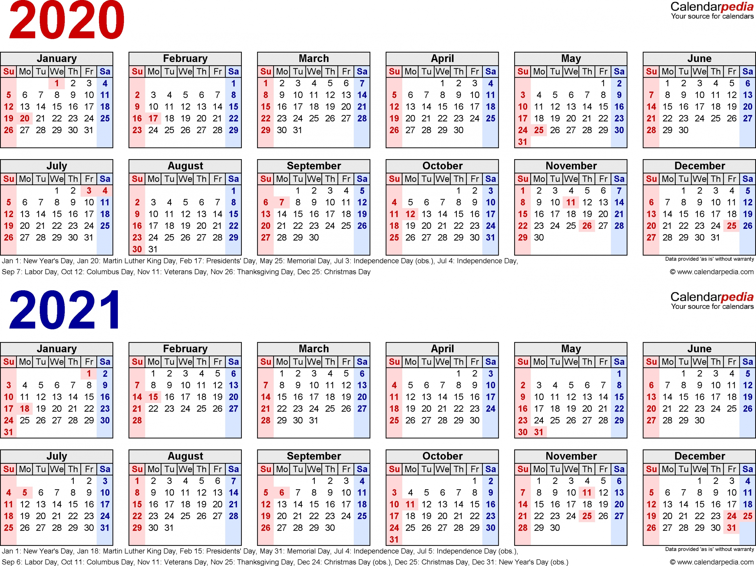 4 Year Calendar 2020 To 2021 Month Calendar Printable