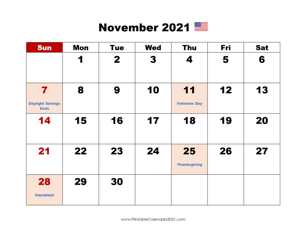 44 November 2021 Calendar Printable November 2021