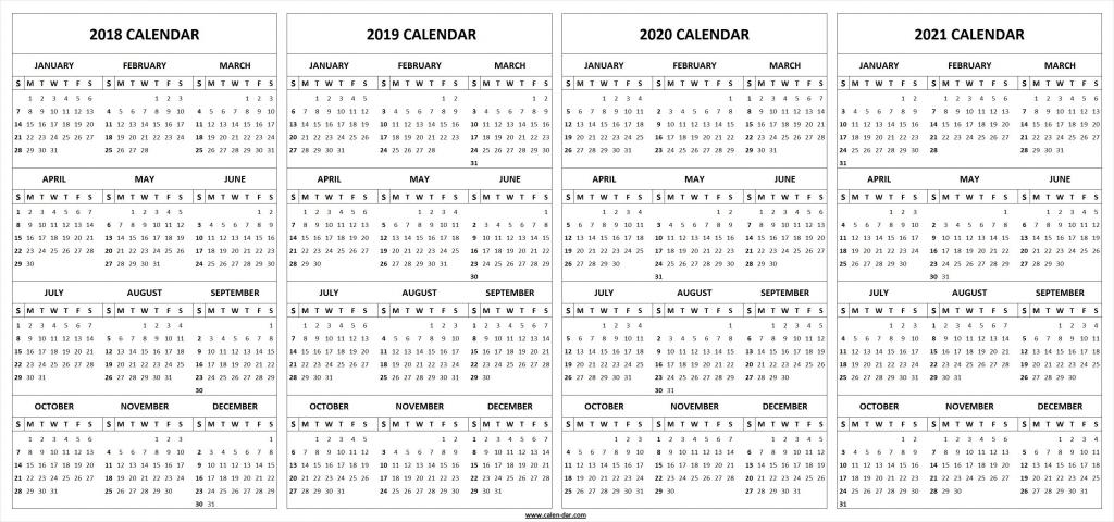 5 Year Planning Calendar Calendar Template 2020