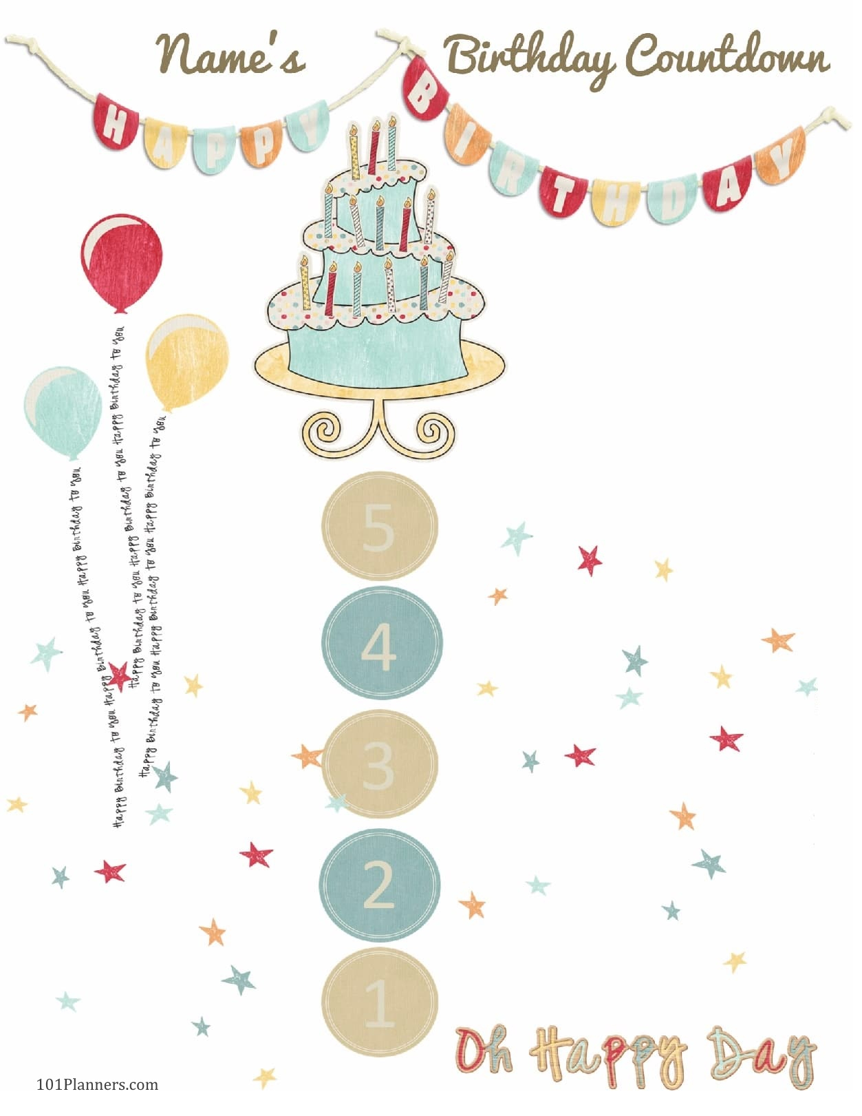 6 Colorful Birthday Countdown Calendars Kittybabylove