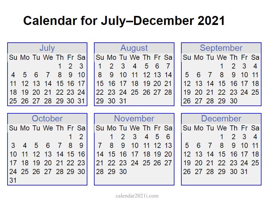 6 Months 2021 Half Year Printable Calendar Calendar 2021