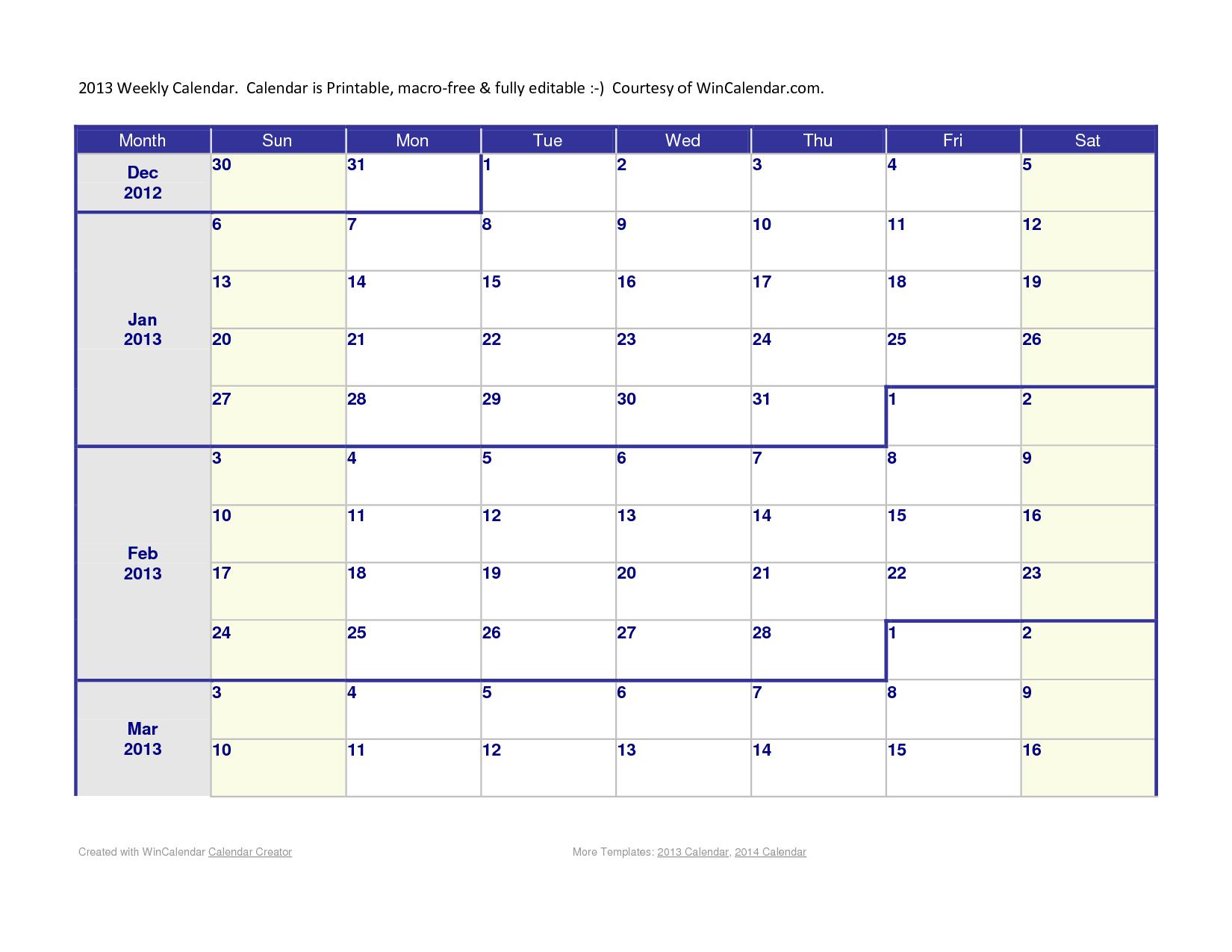 6 Week Calendar Template Word Kanza