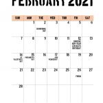 65 Free February 2021 Calendar Printable With Holidays