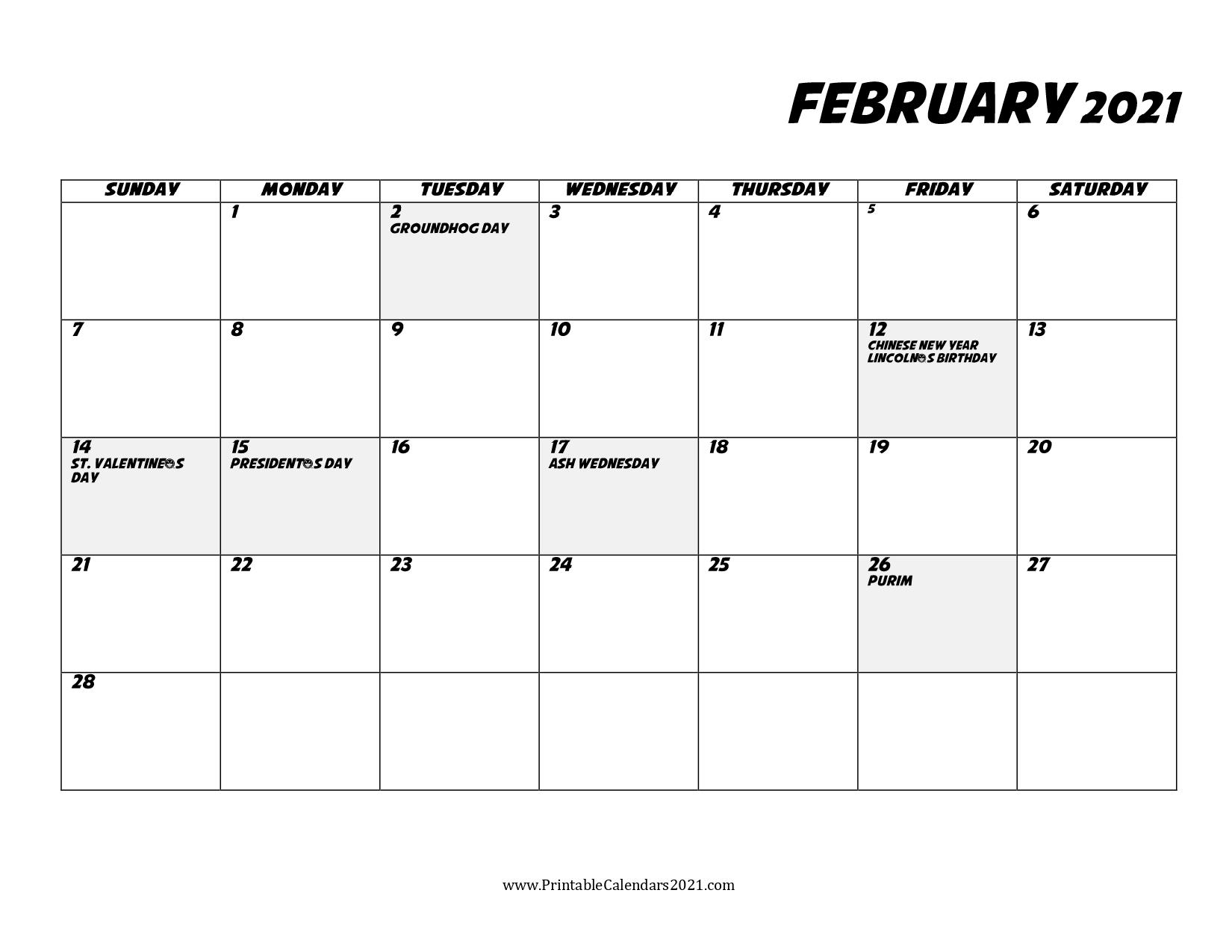65 Free February 2021 Calendar Printable With Holidays 3