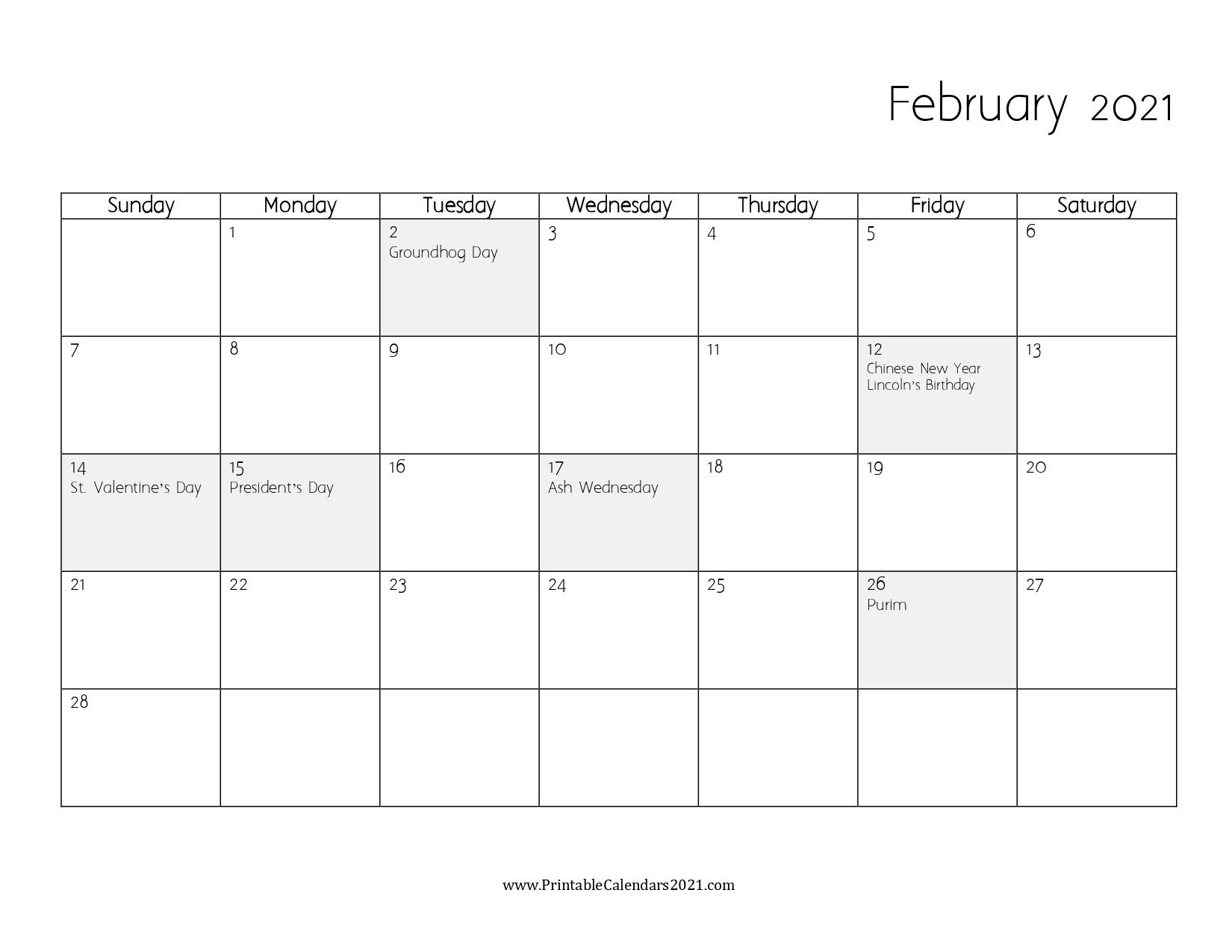 65 Free February 2021 Calendar Printable With Holidays 5