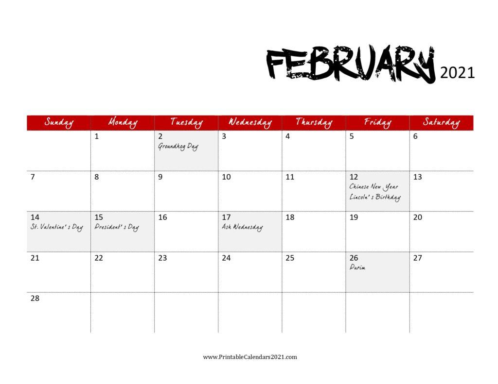 65 free february 2021 calendar printable with holidays 6 ...