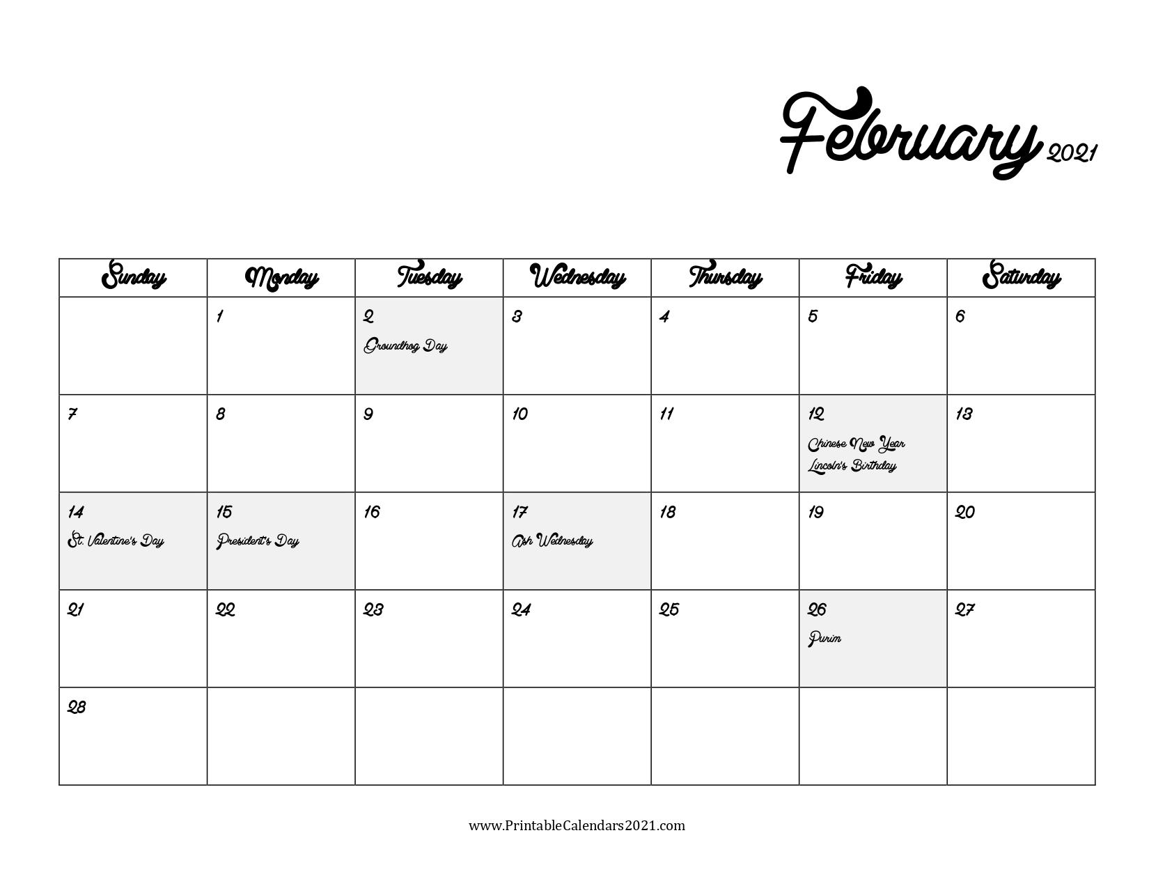 65 Free February 2021 Calendar Printable With Holidays 7