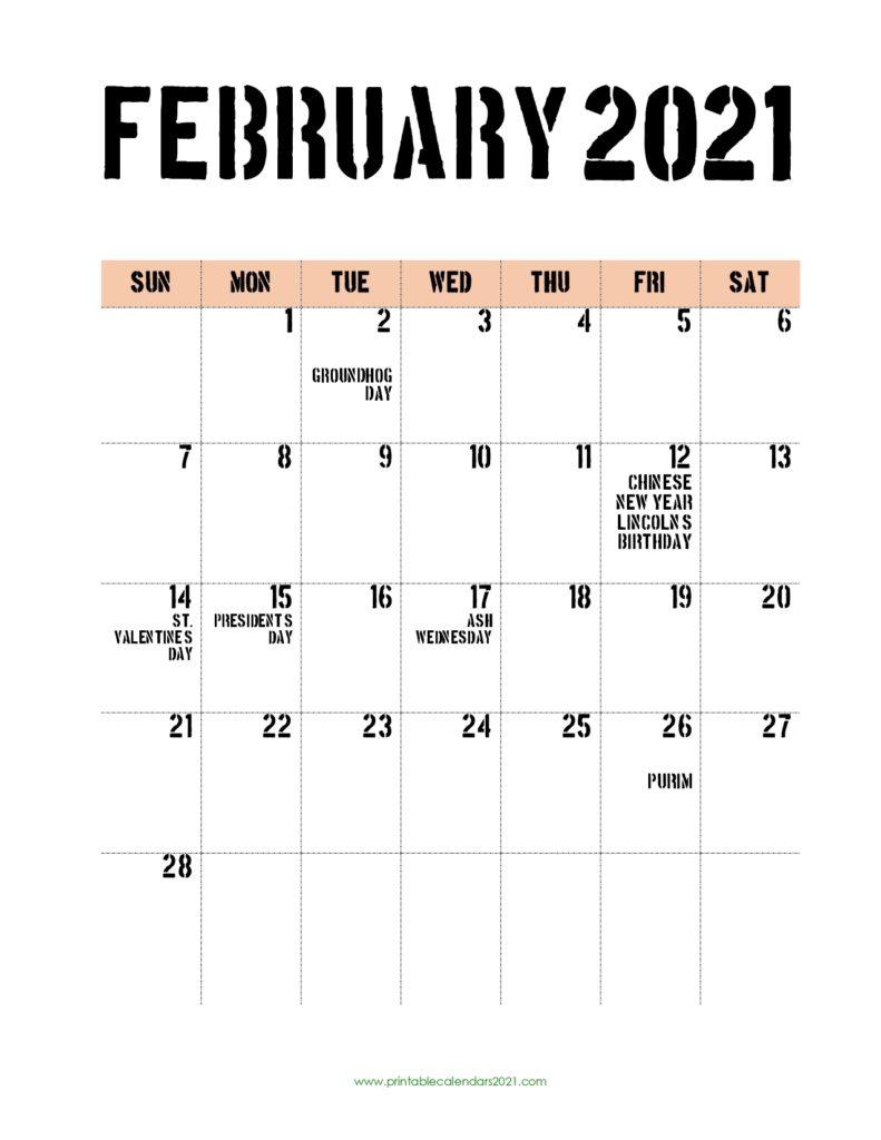 65 Free February 2021 Calendar Printable With Holidays